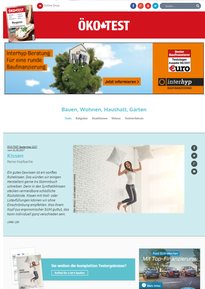 oekotest ergebnis optimales das beste kopfkissen f r dich. Black Bedroom Furniture Sets. Home Design Ideas